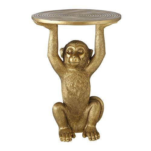 CasaJame Mesa auxiliar de estilo colonial, diseño de mono, color dorado, de resina, altura 53,5 cm