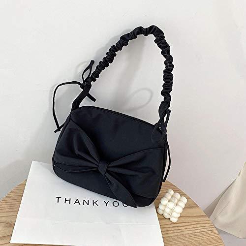 Umhängetaschen One-Shoulder Messenger Bag Damen Bow-Knot Plissee Frauen Chic Candy Pink Handtasche 28Cmx24Cmx4Cm Schwarz