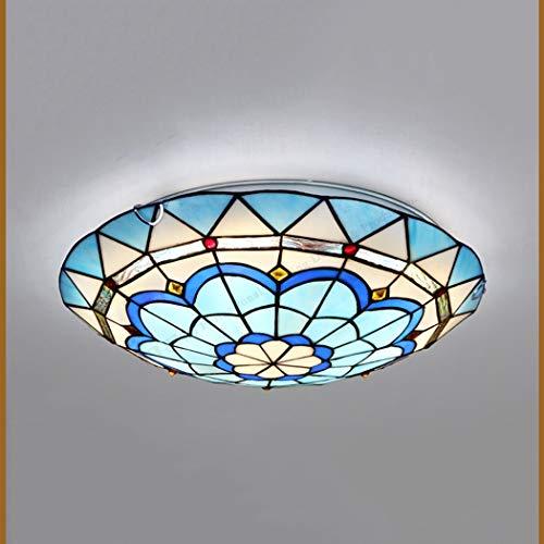 Lampada da soffitto in stile Tiffany Lampada da soffitto a semi mediterraneo Plafoniera da soffitto in vetro colorato Decorazione per soggiorno Camera da letto Sala da pranzo Lampada a sospensione