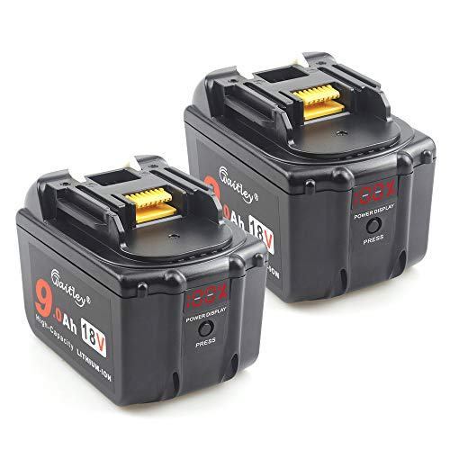 2PACK-QUPER 18V 9.0Ah Li-ion Replacement Batteries for BL1860 BL1850 BL1840 BL1830 BL1815 BL1835 BL1845 LXT-400 Cordless Drill (with LED power Display)