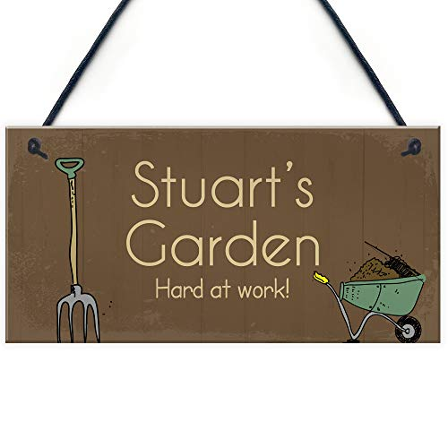 RED OCEAN Garden Signs Personalised Any Name Summer House Garden Shed Sign Dad Grandad Gift