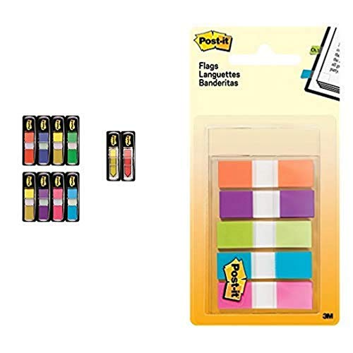 Post-it 'Index Mini Promotion' Klebezettel Set zum Markieren – 8 x 35 Haftstreifen + 2 x 24 Post-it 'Index Pfeile' gratis in 11,9 x 43,2 mm & Post-it Haftstreifen Index Mini 6835CBEU