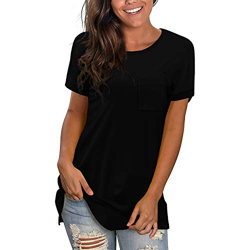 Casual Black Blouses for Teen Girl Crew Neck Womens Loose T-Shirts Short Sleeve Plus Size Spring Tops Trendy XXL