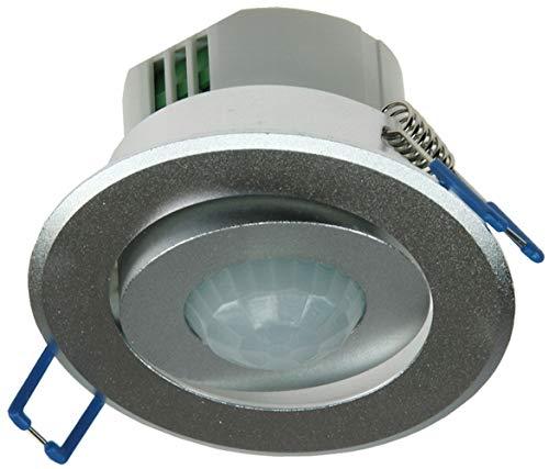 Decken-Einbau-Bewegungsmelder 360° aus Aluminium für mehr Sicherheit, Komfort, Energieeffizienz, Überwachung. LED geeignet, 6m, schwenkbar, Unterputz, Silber, IP 20