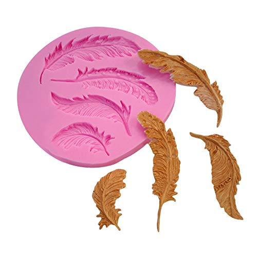 Vacally Creative Silicone Feather Shaped Fondant Mould Cake Animal Birds Plume Chocolate Mould Kitchen Cooking Baking DIY Mold