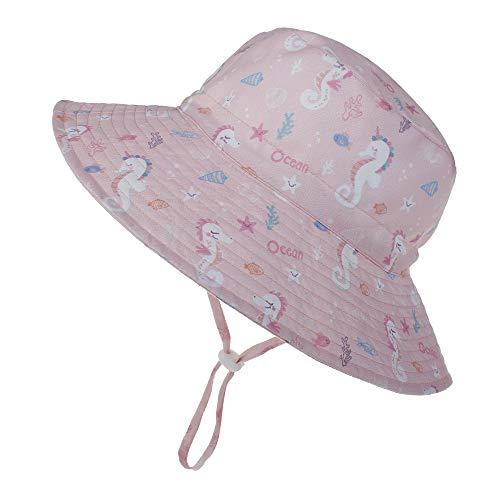 LACOFIA Sombrero de Sol para bebé niña UPF 50+ Ajustable Gorro Verano de Pescador para niñas ala Ancha para Exteriores/natación/Playa/Piscina3-7 años