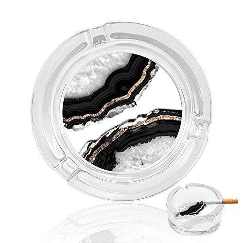 Cenicero de cigarrillo de cristal transparente antideslizante, bandeja redonda utilizada para fumadores en casa, oficina, jardín, decoración y regalo, ágata con purpurina Glam Gem Decor Art