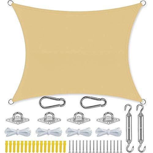 XUUX Toldo rectangular impermeable con kit de fijación para patio al aire libre, césped, jardín y patio (2 x 2 m, beige)