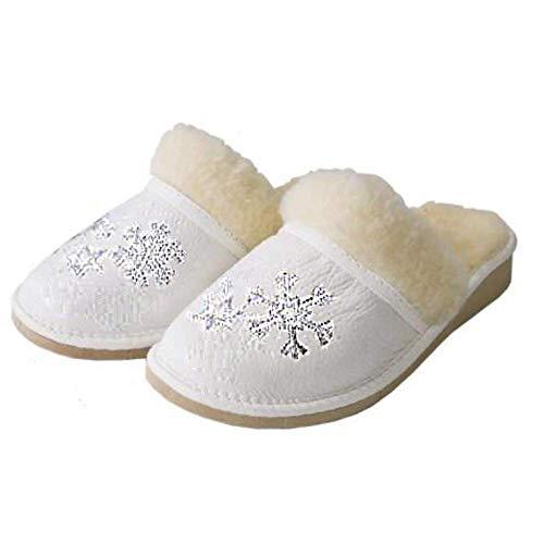 Leder Schafwolle Fluffy Snowflake White Damen Pantoffeln Pantoletten Größen 37-42