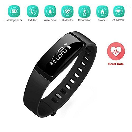 Braccialetto Fitness, Activity Tracker SHKAX Fitness Tracker Braccialetto Monitoraggio Battito Cardiaco e Rilevamento Contapassi Monitoraggio del Sonno Wireless Activity Wristband Compatibile con Smartphone iPhone e Android