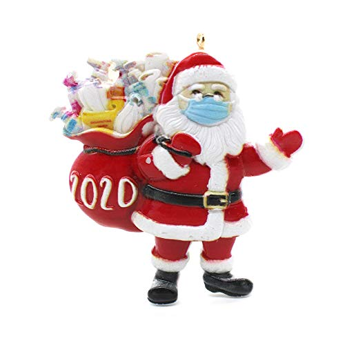 2020 Christmas Ornaments Quarantine, Christmas Tree Decoration Pendant, Santa Claus with Face Cover Tradition Home Decor for Family (1 Pcs)