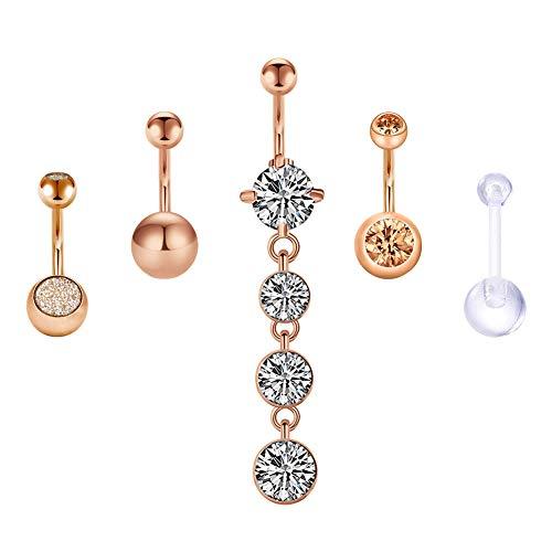 14G Diamond CZ Chirurgenstahl Anhänger Bauchnabelpiercing Körperschmuck Piercing für Damen Mädchen Stab 10mm Bauchnabel Piercing - Rose gold