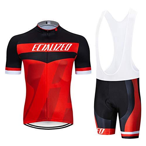 QWA Hombres Manga Corta Ciclismo Jersey Profesional Bicicleta Equipo Respirable Camisa + 9D Acolchado Babero Pantalones Cortos Aire Libre Montando Ropa de Deporte (Color : Red 1, Size : B(S))