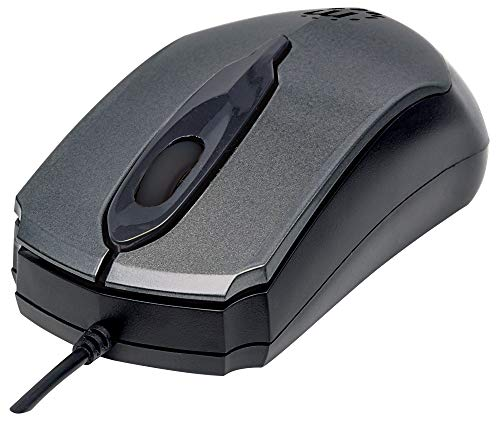 Manhattan 179423 Edge USB-Maus (optisch, kabelgebunden, drei Tasten, Mausrad, 1000 dpi) anthrazit