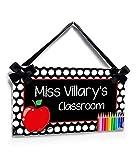 Personalized Teacher Apple Door Hanger | New Classroom Decor Sign | Kasefazem Teacher Gift Idea | Name Plaque for Teachers | Class Door or Wall Hanging