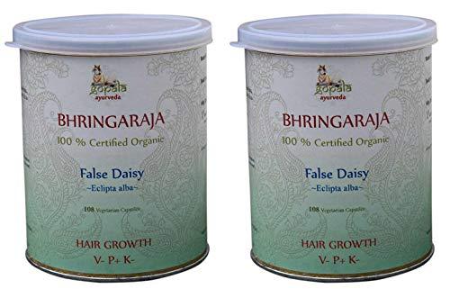 BHRINGRAJ Capsules (USDA Certified Organic) Ayurvedic Herb Eclipta alba - 108 Vcaps of 500mg Each (Pack of 2)