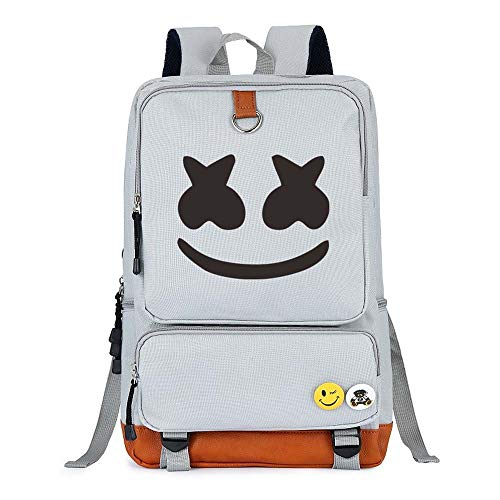 Marshmello face Alone DJ Backpack Book Bag Marshmello Children School Bags Men Women Hip Hop Backpack for Girls and Boys (White)