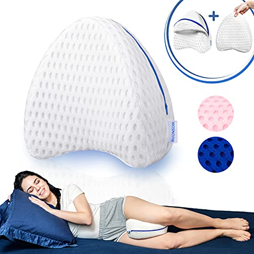 BUONSON Almohada para Piernas y Rodilla con 2 Fundas Transpirable - Cojin Ortopédica con Espuma de Memoria para Dormir de Lado - Alivia el Dolor de Espalda, Cadera y Articulaciones (Blanco)