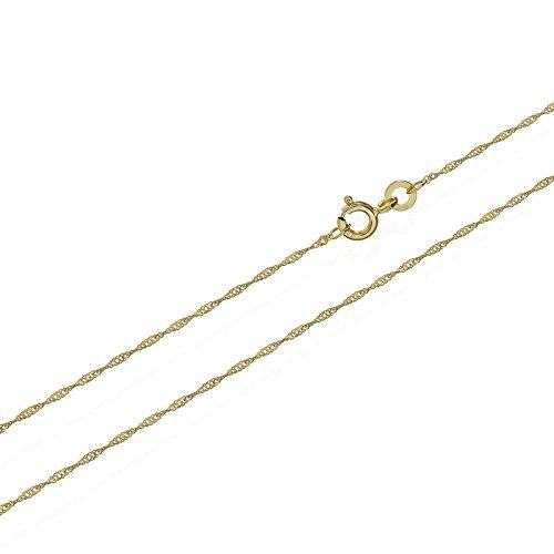 NKlaus Singapur Kette 333er Gold Kette gedreht 3725, 45 cm lang, 1,1 gr. 1,2 mm Breit