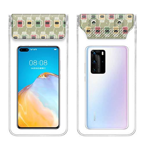 Leapfh - Funda impermeable para teléfono móvil IPX8 con bolsa de secado con cordón, compatible con iPhone 11 XS Max / XS / XR / X / 8/7 Plus bajo 7,2 pulgadas, muy adecuada para senderismo en la playa, Botella de la suerte