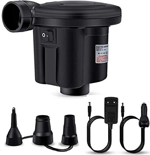 Bheddi Elektrische Luftpumpe, Elektrische Pumpe für Aufblasbare Luftmatratze Luftbett Paddel Pool Spielzeug Schwimmring, Elektrische Aufblaspumpe Entleerungspumpe mit 3 Luftdüse