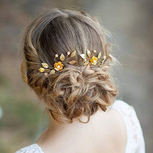 Aukmla - Horquillas de boda con cristales para novia, accesorios para el...
