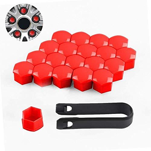 EXQULEG 20x Auto Radmutter Abdeckungen Auto Radmutter Caps Universal 17mm Schraubenkappen mit 1*Ausbauwerkzeug (Rot)