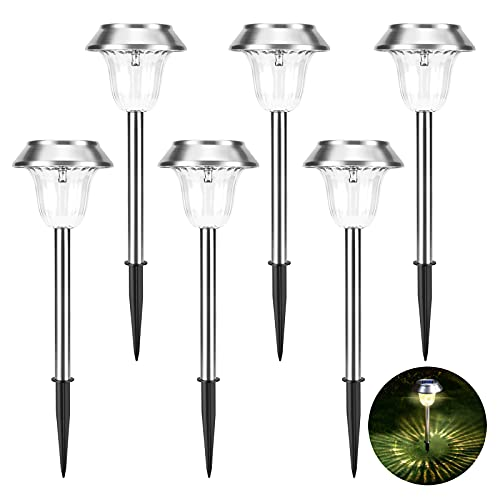 Solar Lights Outdoor, 15LM Solar Garden Lights Stainless Steel Waterproof Ornament Lights with Warm White Light for Patio/Yard/Pathway/Driveway, Dusk to Dawn Auto On/Off (6 Pcs)