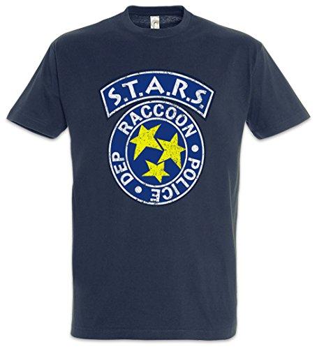 Urban Backwoods Vintage S.T.A.R.S. Logo Herren T-Shirt Blau Größe 3XL