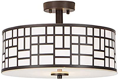 GLANZHAUS Inner White Acrylic Diffuser Outer Oil-Rubbed Bronze Finish Flush Mount Ceiling Light,