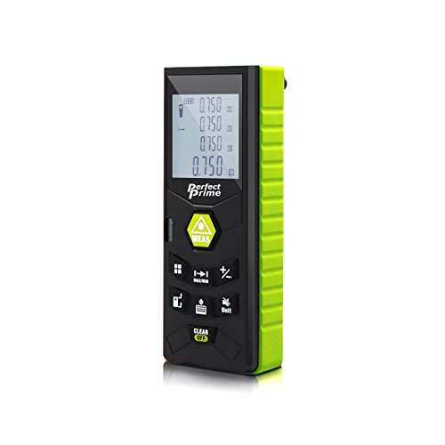 PerfectPrime RF0350, Laser Distance Digital Range Finder Meter Diastimeter Measuring Device with Clip/Level Bubble 164ft, Pythagorean mode/Volume/Area calculation, LCD Backlight/IP54 Water/Dust Proof