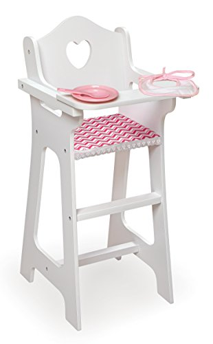 Badger Basket Chevron Doll High Chair with Accessories and Free Personalization Kit (fits American Girl Dolls), White/Chevron (10193)