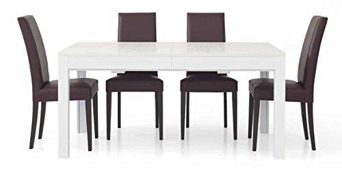 InHouse srls Table Extensible Blanc Pore Ouvert avec 4 rallonges DE 43 cm, Style Moderne, en MDF laminé et Structure en Acier - Dim. 160 x 90 x 75