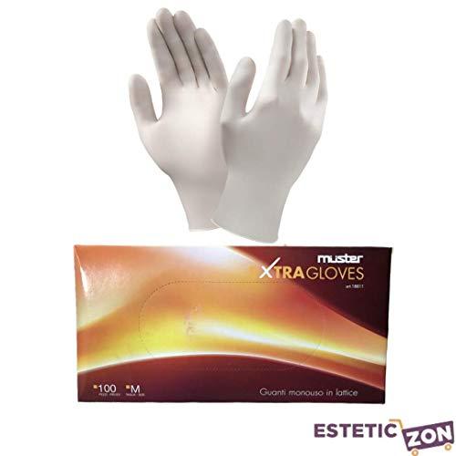 Muster Guanti Extra Gloves in lattice monouso Resistenti, finemente Pre Talcati Misura M 100 pz