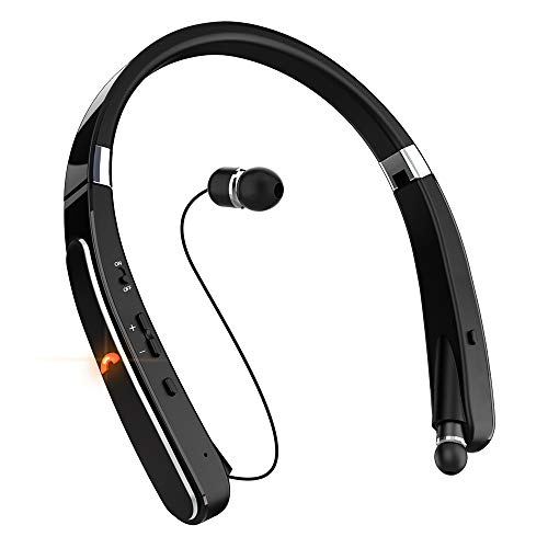 Affordable Wireless Bluetooth Headset, EGRD Foldable Retractable Bluetooth Headphones with Neckband ...