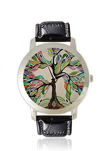 Buntes Bleistift-Skizzen-Stil, Baum des Lebens, Damen-Armbanduhr, dünn, minimalistisch, modisch, wasserdicht, analog, Lederarmband, Geschenk