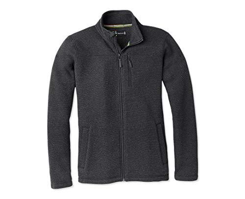 Smartwool Fleece Full Zip Jacket - Men's Hudson Trail Merino Wool Outerwear Dark Charcoal Large