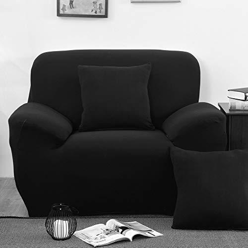 INMOZATA Fundas para sillón, 1 unidad, de poliéster y elastano, elásticas, lavable, color negro