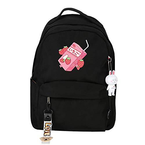 XYUANG Strawberry Milk Mochila de Viaje con Backpack para niñas con Bolsa para Mujeres y Hombres Ligeros-A