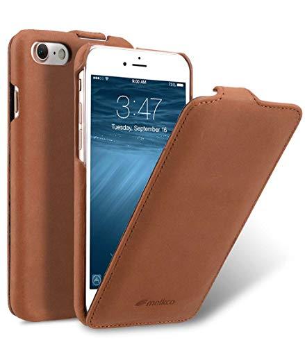 MELCKO Tasche passend für Apple iPhone SE 2020, iPhone 8 & iPhone 7 (4.7 Zoll), Hülle Außenseite aus Echt-Leder, Schutz-Hülle aufklappbar, Flip-Hülle, Ultra-Slim Cover, Etui im Vintage Erscheinungsbild, Braun