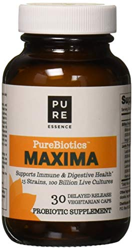 PURE ESSENCE LABS Maxima Probiotics 100 Billion CFU by Pure Essence - 15 Strains for Immune Support and Digestive Health - 30 Capsules