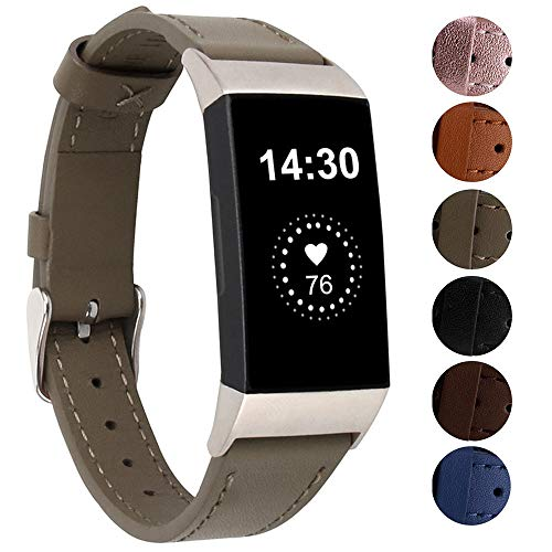 Genuine Leather Bands Compatible for Fitbit Charge 3/ Charge 3 SE/Charge 4 Bands, Classic Replacement Accessories Strap Genuine Leather Wristbands Metal Women Men Small Large Gray