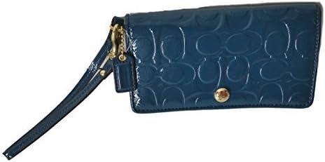 Coach Signature Embossed Patent Leather Demi Clutch Bag Blue