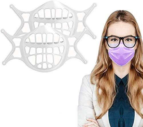 3D-Gesichtshalterung, Silikon-Innenstützrahmen, Lippenstift-Schutz, Ständer, wiederverwendbar, waschbar, Gesichtshalter verhindert das Beschlagen der Brillen, hält den Stoff vom Mund (2 Stück)