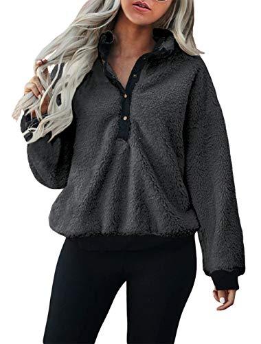 KIRUNDO Winter Women's Mock Neck Pullover Long Sleeves Half Button Closure Sweatshirt Fleeces...