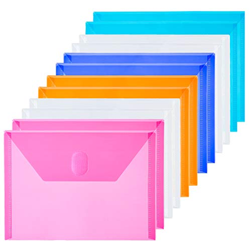 FANWU 12 Packs Small Plastic Envelopes Reusable Envelopes with Hook & Loop Closure - Index Size 5 x 7 Poly Envelops for Receipt Coupon Photos Cards Stickers (Assorted Color 12 Pack)