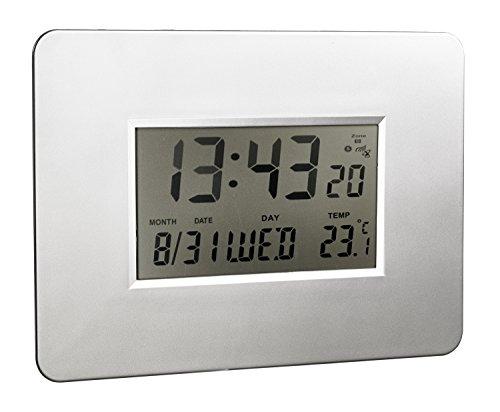 Alco 191-2 - Reloj de Pared con Pantalla LCD, 30 x 21 x 1,8 cm, Color Plateado