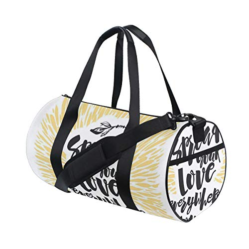 PONIKUCY Bolsa de Viaje,Difundir su Amor en Todas Partes IR Cita con Letras artísticas,Bolsa de Deporte con Compartimento para Sports Gym Bag