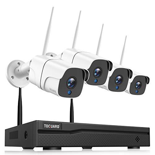 TOGUARD Kit de Cámaras de Vigilancia IP WiFi Exterior, 8CH 1080P NVR 1080P Camara Videovigilancia Inalambrica con Detección de Movimiento, Visión Nocturna, IP66 a Prueba de Agua, Conecta y Reproduce 🔥