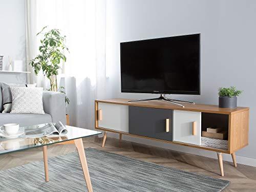 Modernes TV Lowboard 3 Schränke Heller Holzfarbton Indiana